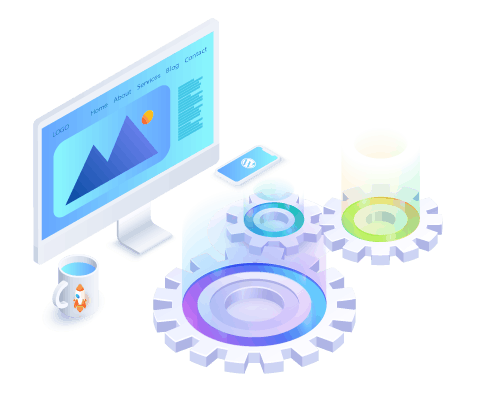 Large gears in front of monitor displaying a web page design represents website development.