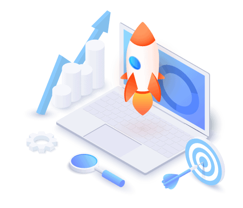 Rocket launching from laptop surrounded by website design and development tools means time to launch.