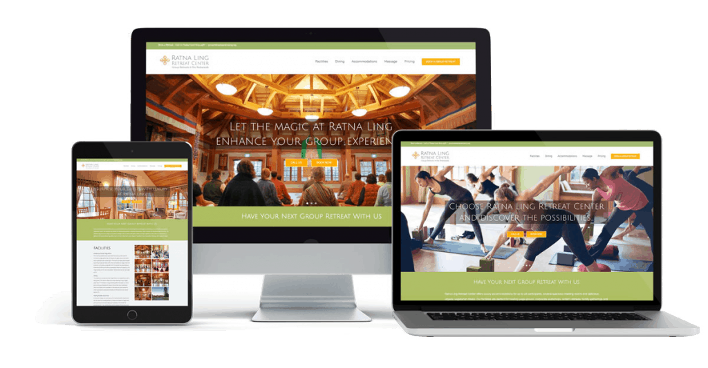 Three devices, a computer monitor, mobile phone and tablet, show responsive website using Wordpress Avada theme.